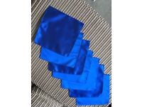 7 Royal Blue Wedding Ruches (Ties) and matching Handkerchiefs