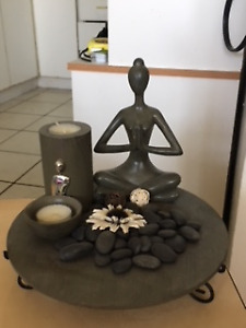 Home Decor: Yoga Lady with candles and stones
