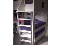Stompa High Single Bed with single seat/futon below and desk unit.