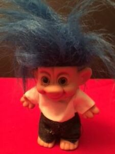 Vintage Troll Forest IMM Troll Blue Hair Gray Pants White shirt