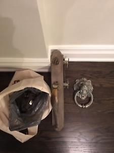 solid Emtek front door entry hardware and Lion knocker