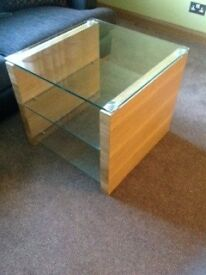 Glass and oak lamp table