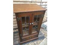 Charming oak antique display cabinet/media unit
