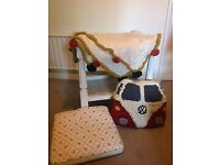 Selection of cushions and blanket- vintage/shabby chic/campervan