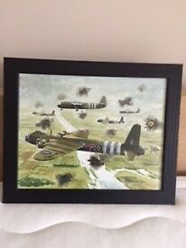 painting of stirling IV glider tugs of 620 squadron crossing Rhine 1945