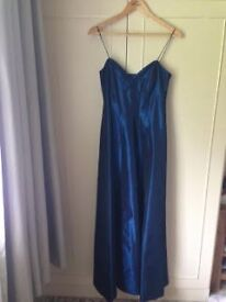 Evening dress, navy, size 10, shoestring straps.