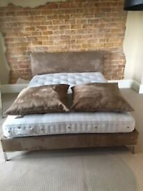 Savoir Contemporary Double Bed Frame, Matteress and two cushions