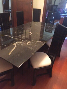 Black Genuine Lacquered Marble Table With 6 Chairs. Brighton East Bayside Area Preview