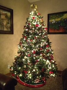 7.5 ft Christmas tree and decorations