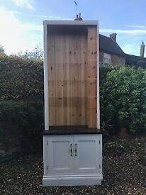 Custom made painted Pine full-height Bookshelf and cupboard with Granite top