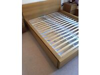 Ikea Malm King Sized Bed in Oak Veneer - almost new condition