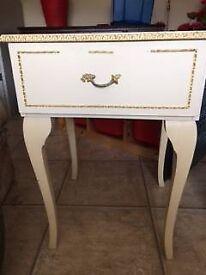 Cream vintage style bedsdie table