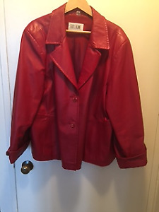 Red real leather jacket..OR BEST OFFER