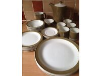 Poole Pottery dinner service - olive green and white, vintage