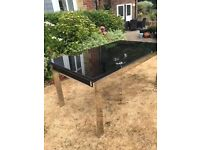 John Lewis extending toughened glass table (seats 6 - 8) and 8 x cream leather chairs