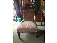 Nursing chair. Antique. Reupholstered around 10 years ago. Bit faded but sturdy.