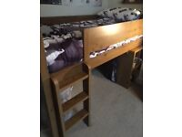Solid kids mid sleeper with desk, wardrobe and drawers