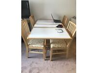 Table and 4 Chairs with cupboard and extendable sides
