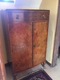 Antique Engraved Light Wood Side Board Cupboard