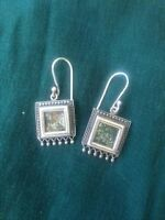 Roman glass and silver earrings
