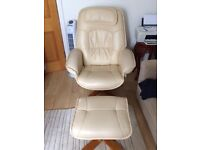 Cream faux leather swivel/recliner chair