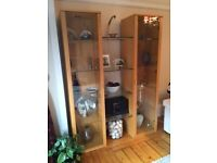 Modern Display Cabinet (Beech wood & glass shelves with halogen light fittings)
