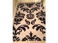 Black & Cream Damask style rug from Next 100% wool - £55.00