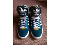 Womens Adidas High Top Trainers, Turquoise, Size 6