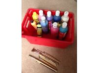 Box of children's paint and brushes