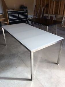 Chrome and White Glass IKEA Torsby Table