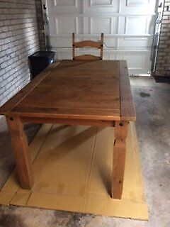 Mexican Pine Dining Table and Six Chairs