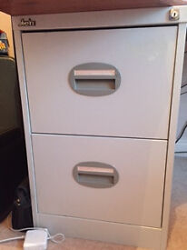 Grey 2-Drawer Filing Cabinet / Wooden 3-Drawer Pedestal with Filing Drawer