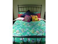 Sturdy metal double bed frame with wooden slat base - FRAME only. Pick up evening after 6pm/weekend