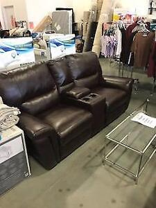 Leather Reclining Love Seat w/ Drink Holder