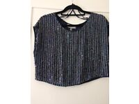 Coast Bella Marie embellished top. Navy Size 14. Never worn