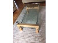 Glass/Wood Coffee Table, Excellent Condition