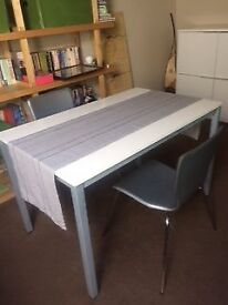 Table (white) and pair of chairs (silver grey leather)