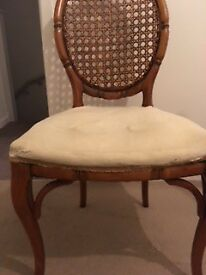 Very attractive wooden chair rattan back