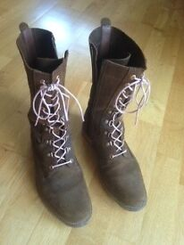 Brown suede below the knee lace-up boots with flat soles