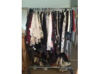 Clothing Rail and Organiser with Basket