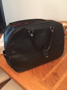leather carry on luggage on wheels
