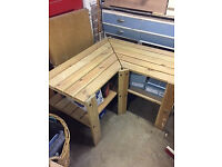 Pine corner shelving unit (ex Ikea)