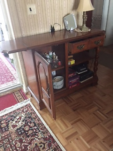 Round Pedestal Dining room Table, chairs, side board, china cab