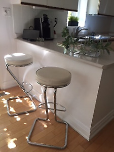 2 Bar Stools, For $40/each, White Leather, Removable Top
