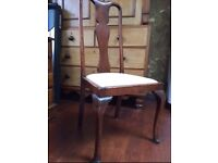 Bargain: Dining chairs PAIR, cream upholstered seats £12