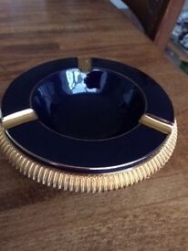 Dark blue old Italian ashtray with gold coloured rims