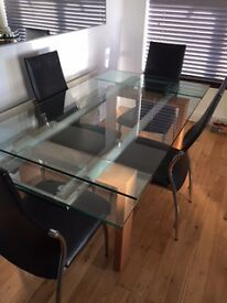 Glass extendable dining table 150/210cm by 90cm beech legs with chrome supports & 4 chairs