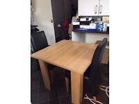 Oak Venere Fixed Top Table and 4 Faux Leather Chairs