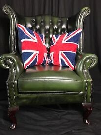 Handmade Leather Chesterfield Style Green Wing High Back Armchair