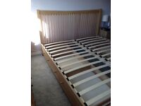 Free Feather and Black Marblehead SuperKing storage drawer bed frame. Damaged but useable.